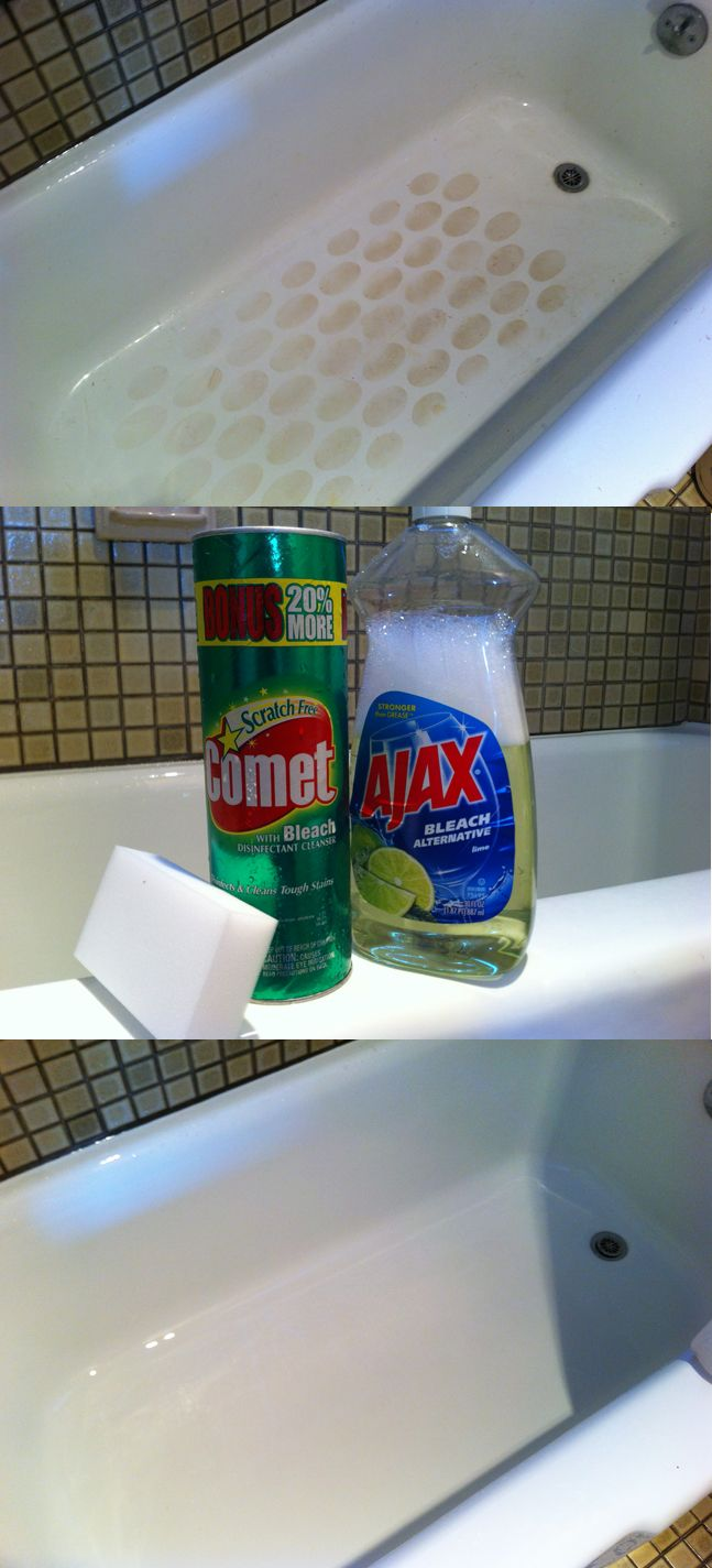 Comet + Ajax + Magic Eraser for perfectly clean tubs