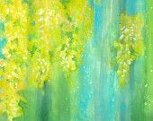 Abstract yellow flower painting