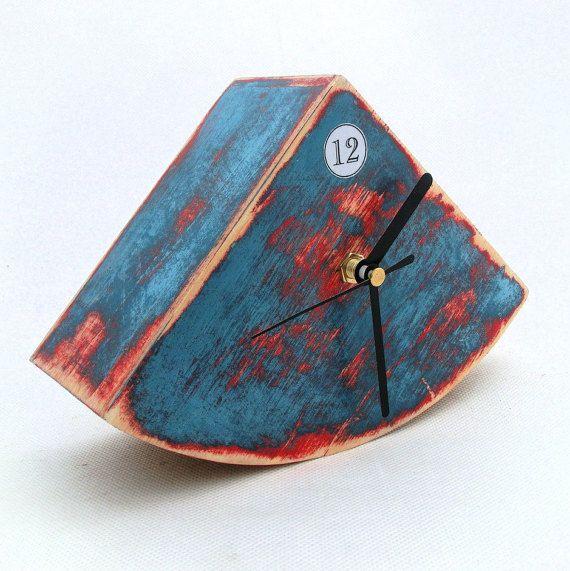 KOSTENLOSER VERSAND - Blue-Tischuhr, Schreibtisch Uhr einzigartige Geschenk, Holz-TISCHUHR blau rot, Weihnachtsgeschenk