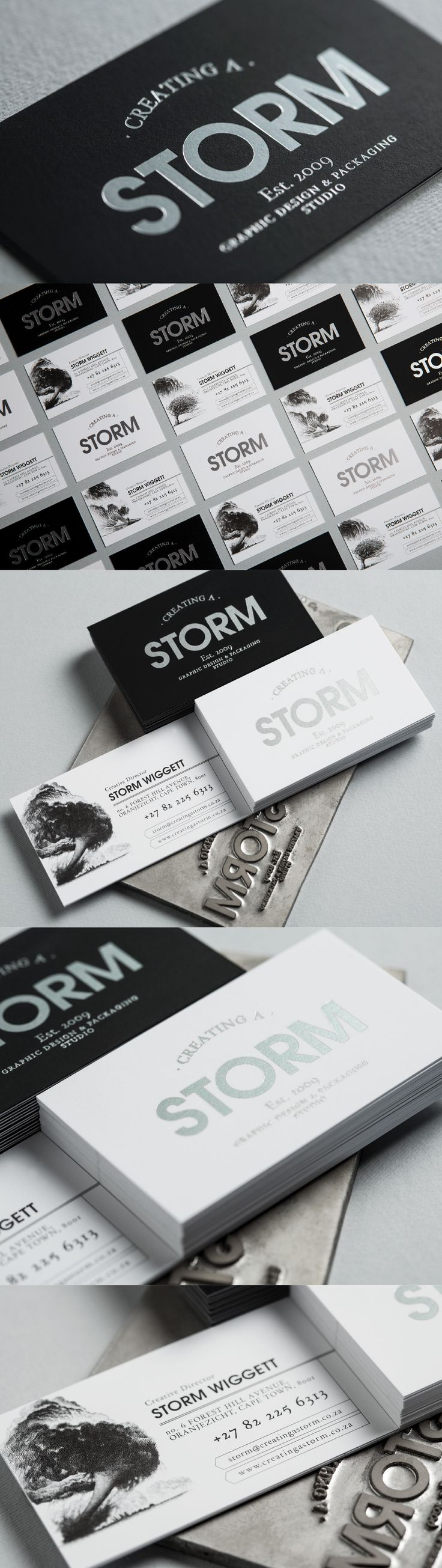 Creating a Storm Business Cards with Silver Foiling and beautifully etched storm imagery.