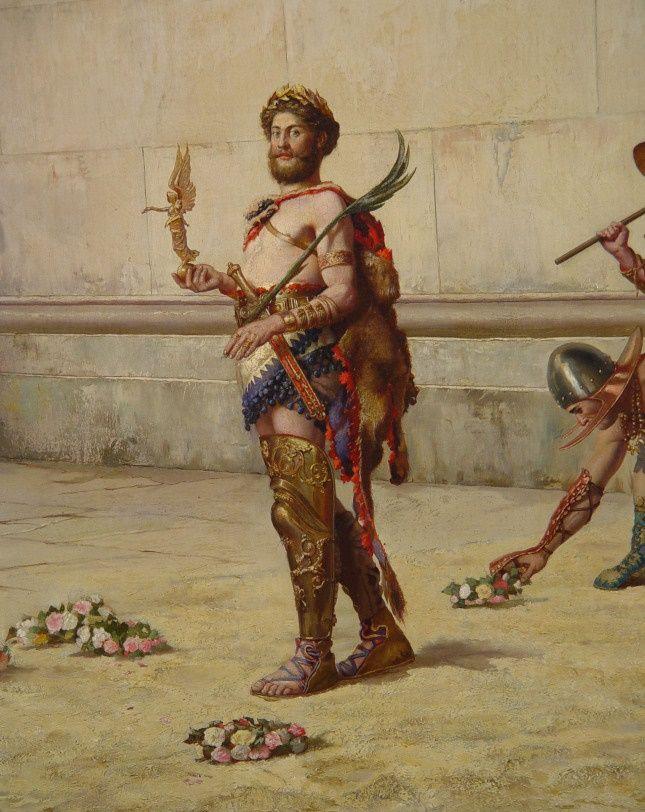 Έ.Χ.Μπάσφιλντ [Edwin Howland Blashfield (American, 1848 – 1936)], Ο αυτοκράτορας Κόμμοδος αποχωρεί από την αρένα επικεφαλής των μονομάχων (λεπτομέρεια)