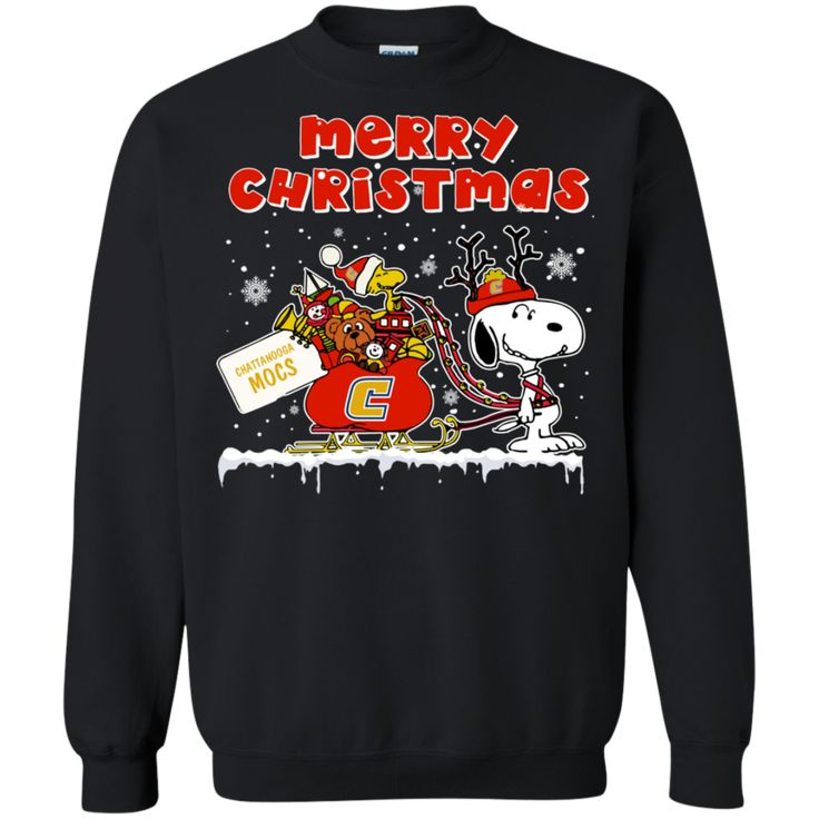 Chattanooga Mocs Ugly Christmas Sweaters Merry Christmas Snoopy With Sleigh Hoodies Sweatshirts