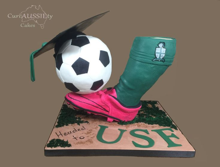 3D gravity defying graduation cake by curiAUSSIEty custom cakes