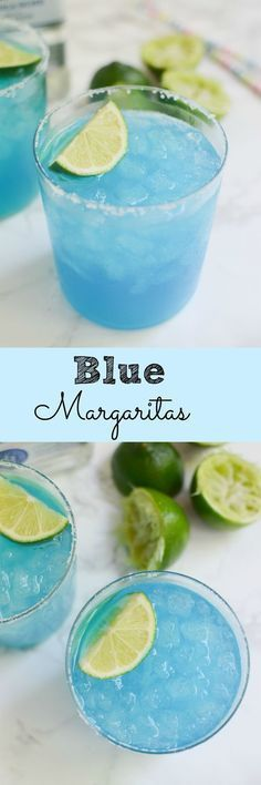 Blue Margaritas - the prettiest drink for your Cinco de Mayo party!