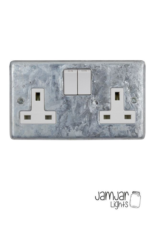 Finally! Electrical accessories in a galvanised finish. These plates are galvanised locally then assembled and tested using Crabtree inserts. BS 1363 13Amp double switched socket Comes with 3.5mm nickel plated socket screws. Fits standard UK socket boxes Also available with black inserts Please be aware these are a heavy galvanised finish, the finish, texture and shade will vary slightly between each item.