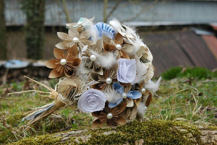 Bouquet de fleurs en papier récup'