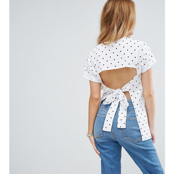 ASOS PETITE T-Shirt with Open Back in Spot Print ($25) ❤ liked on Polyvore featuring tops, t-shirts, multi, petite, polka dot tee, petite t shirts, short t shirt, petite tee and print t shirts