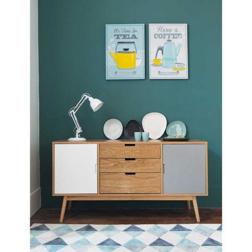 Buffet vintage en bois blanc et gris L 145 cm