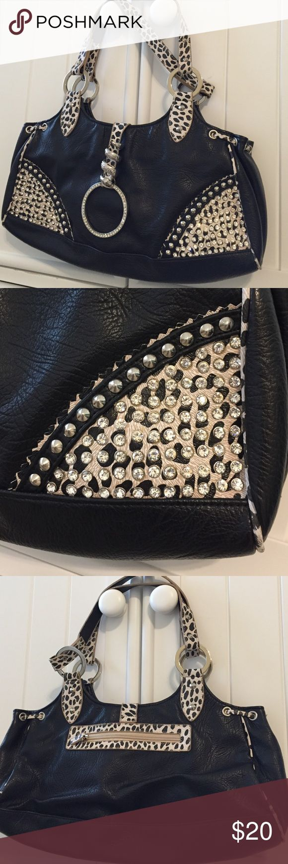 leopard and bling purse by BLUE ELEGANCE FALL IS HERE and it's time for this cute purse to go with all of your cute fall clothes. black with black and white leopard, clear crystals and silver hardware + dust bag.  but she's so cute ❤️ BLUE ELEGANCE Bags Shoulder Bags