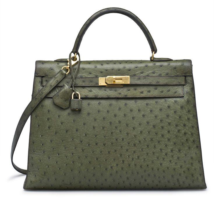 A vert foret ostrich sellier kelly 35 bag #hermes