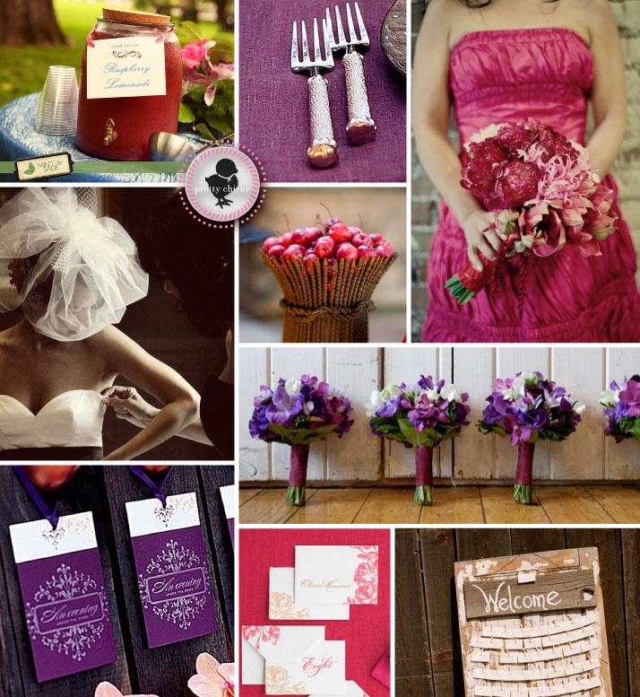 Fuschia Purple And Brown Summer Wedding