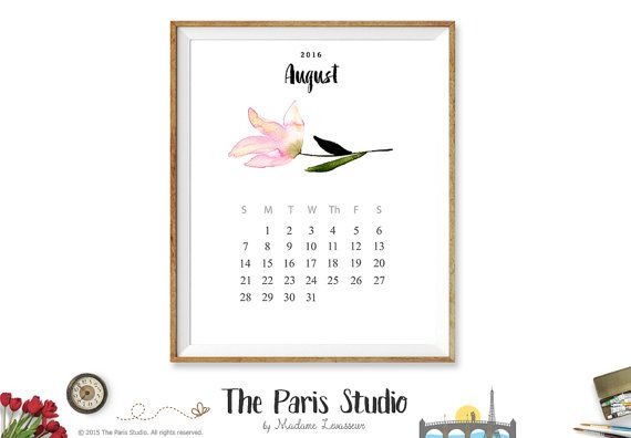 $5 today only! 2016 Printable Calendar Instant Download 2016 Monthly Calendar 2016 Watercolor Floral