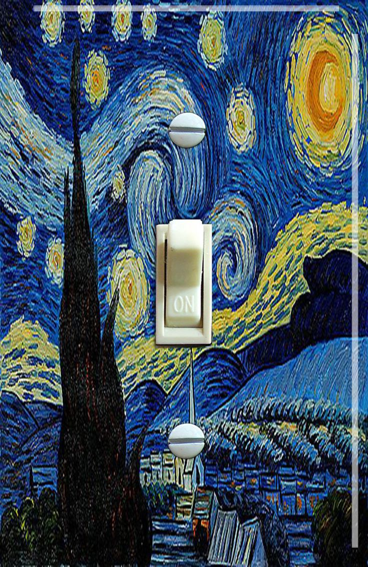 The Starry Night (De sterrennacht)  Vincent Van Gogh Single/Double/Triple Switch Plate *FREE SHIPPING* by VintageSwitchPlates on Etsy