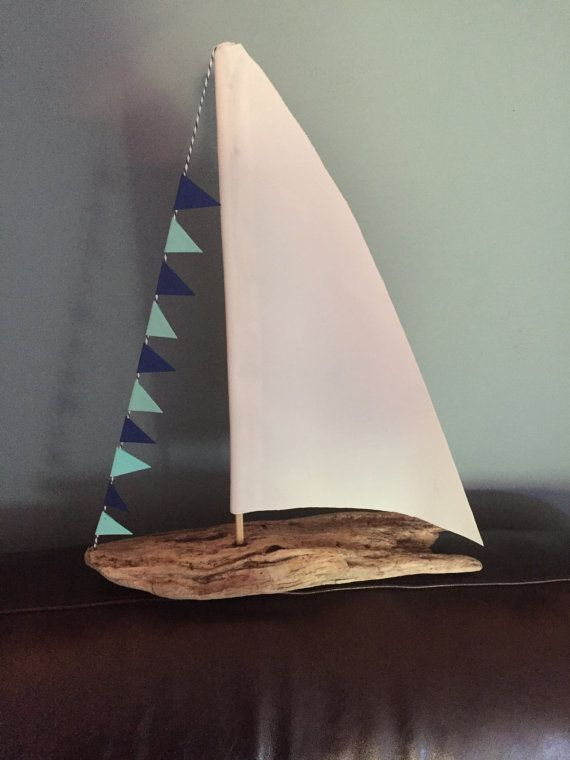 Driftwood Sailboat with Real Sailcloth by RidleyCreativDesigns