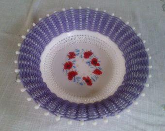 1950s Retro/Vintage 'Smit & Co' Woven Purple Basket