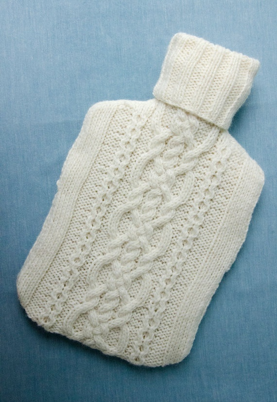 Knitted Hot water bottle Cover Cream Traditional Aran Cable design