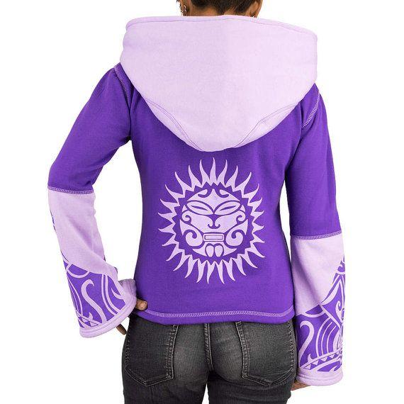 SUN jacket woman zipped, hot sweatshirt, tribal sun print, Maori tattoo, big hood, trance festival, psychedelic, purple / pink, Handmade Materials: Cotton, zip sweatshirt, tribal print, Maori tattoo, Pockets, hood, purple pink, light colors, pale
