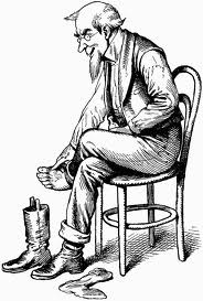 this picture present when in the begining of the play, Estragon trying to remove his old boot.