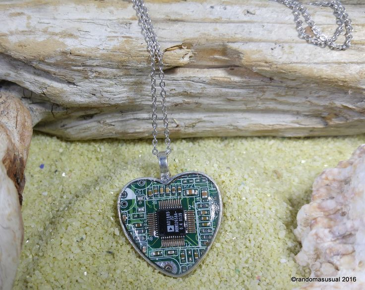 Aug. 31/16 – Trying something new. A circuit board heart pendant! :)
