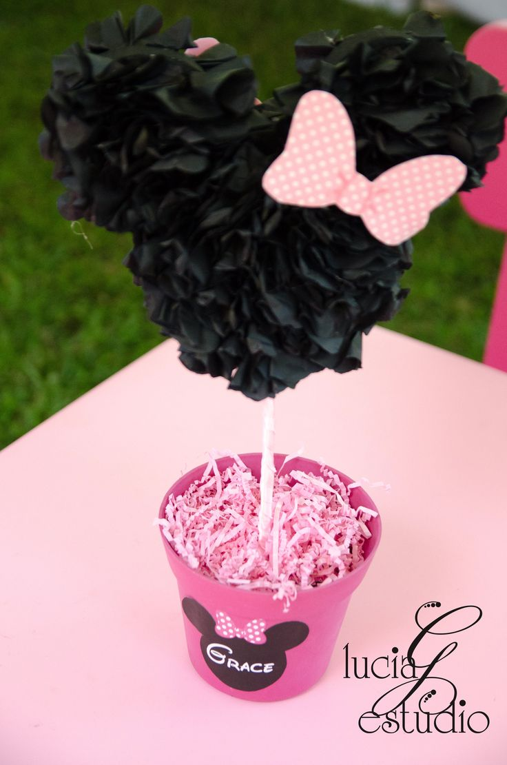 "Minnie Mouse Can use idea and Make bigger ""Minnie"" head pom-poms and hang from…"