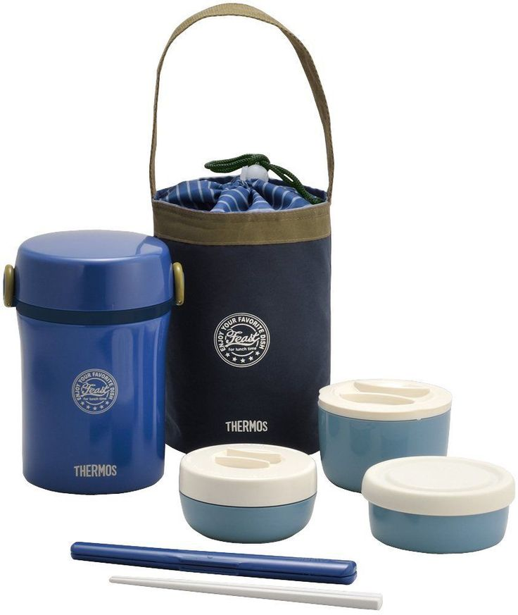THERMOS Insulated Thermal Lunch box Bento food container Jar set lag Navy Japan #Thermos