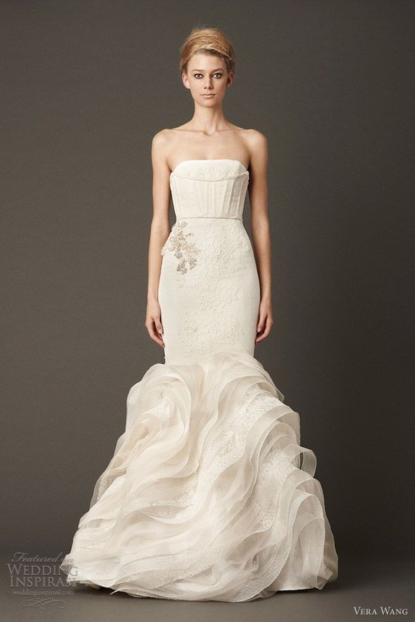 vera wang bridal fall 2013 wedding dress strapless mermaid gown bias organza lace flange skirt