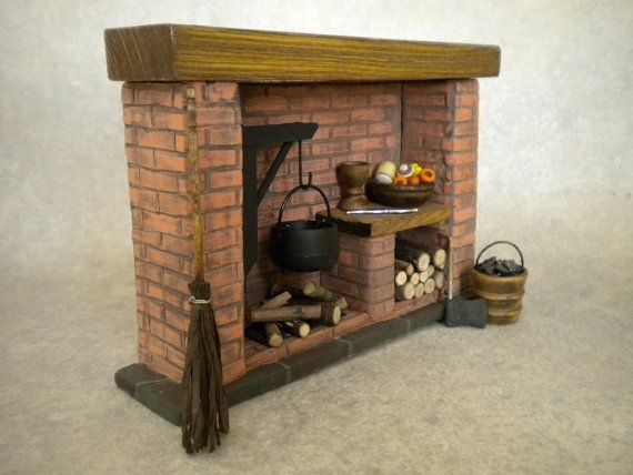 Doll House Kitchen Fireplace Colonial, Tudor, Medieval, Cooking, Historical