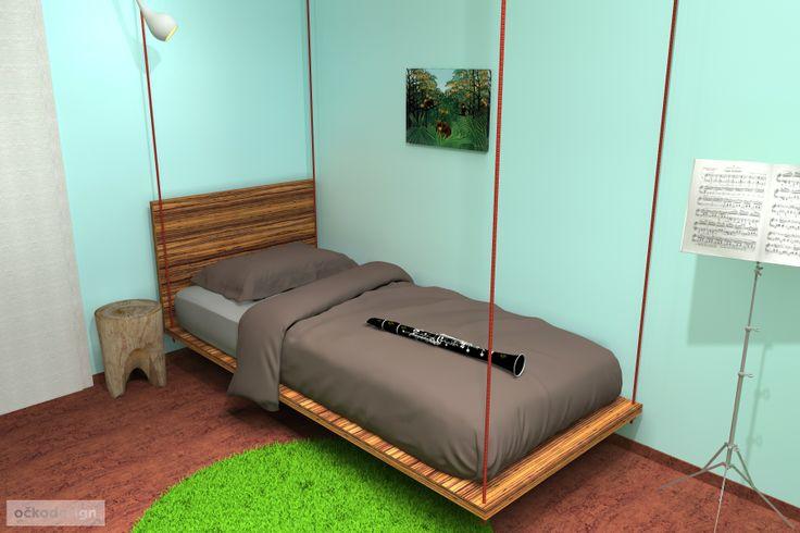 ...koberce mají imitovat travnaté ostrůvky a lana na kterých je postel zavěšena zase liány. V návrhu jsem se snažil odrazit vášeň Lukáše, ale zároveň o to, aby se v tomto pokoji cítil dobře i za pět a více let.  Petr Molek interiérový design 737167676 www.ockodesign.cz