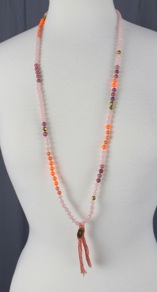 Chan Luu Women's Pink Orange Stone and Agate Bead Tassel Accent Necklace  | eBay