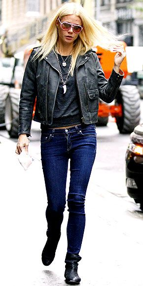 GWYNETH PALTROW    Bringing a bit of her London chic with her, the star struts the streets of N.Y.C. in an Alternative Apparel top, cropped leather jacket and skinnies while heading to the Thanks for Sharing set.