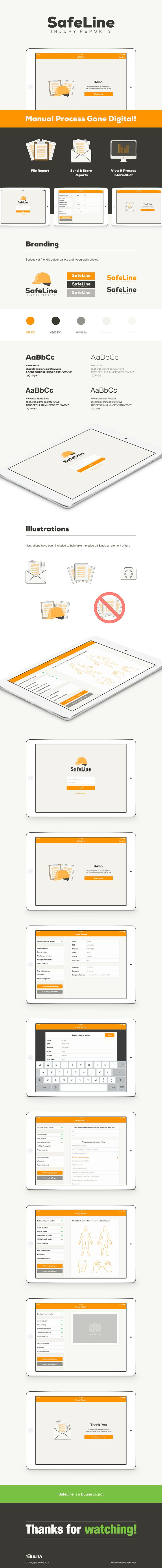 SafeLine - Injury Reporting application to replace a slow manual process. #appdesign #graphicdesign #UX #UI #ios #uxdesign #uidesign #app