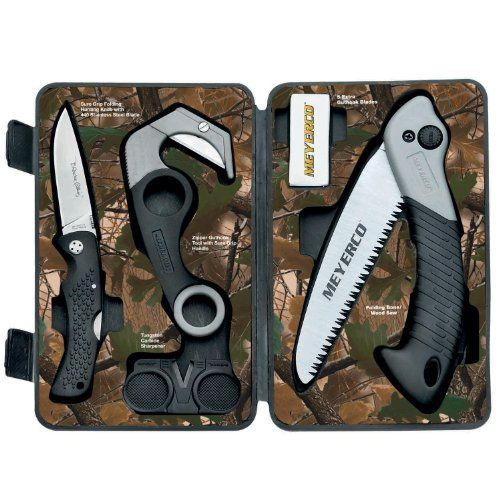 A top pick of experienced hunters everywhere, the Meyerco 10pc Game Cleaning Set offers extreme performance in an affordable package A large, rubber-gripped stainless steel knife pairs with a folding bone/wood saw and gut hook tool to clean your wild game kill swiftly and easily Gut hook tool comes with 5 replacement blades. Tungsten sharpener included.