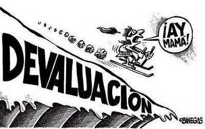 Caricatura que en su contexto dice que hubo una devaluación del peso Mexicano frente al dolar de 8.50 a 12.50 durante el gobierno de Ruiz Cortines