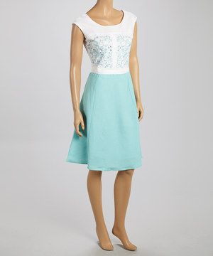 Loving this Joy Mark White & Blue Embroidered Color Block A-Line Dress on #zulily! #zulilyfinds