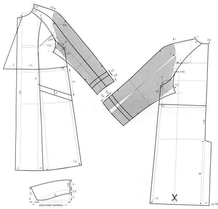 Выкройка пальто свободного силуэта с воротником стойкой