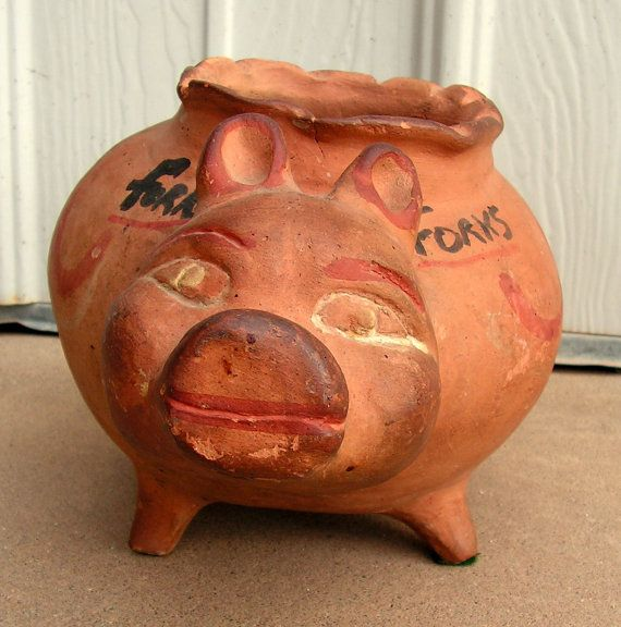 Vintage Mexican Pottery Pig Olla Bowl Fork Holder Kitchen Decor