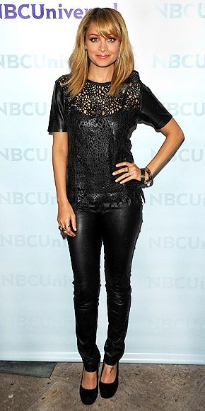 leather on leatherFashion, Hair Colors, Nicole Richie, Style, Outfit, Leather Legs, Cut Out, Leather Pants, Leather Tees