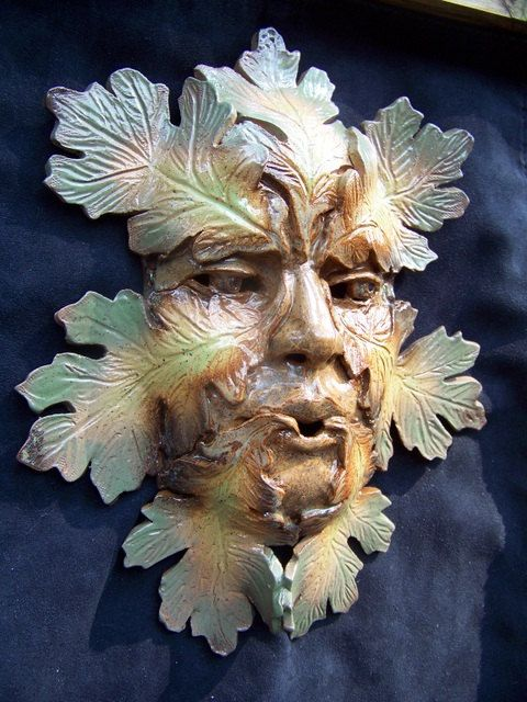 Pottery Art Wall Mask /  Foliated Green man by edMUDson on Etsy, $85.00
