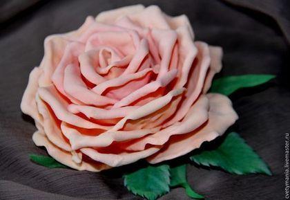 """""""РОЗА персиковая"""".Брошь FOM EVA - кремовый,роза,персиковый,брошь,брошь роза"""