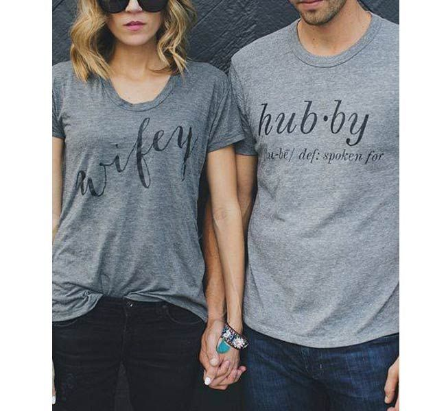 His and hers tshirts are a great wedding present idea!