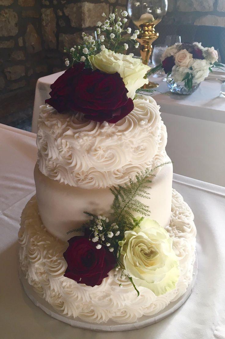 Elegant #WeddingCake - Rosette Style with flowers #DvasCakes #Cambridge