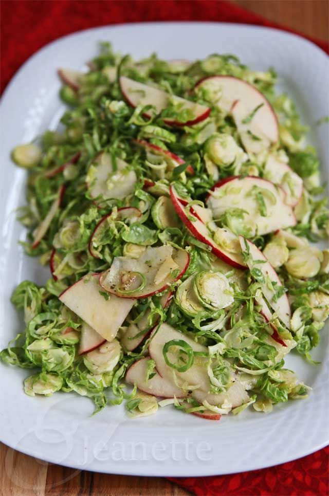 Tangy Brussels Sprout Apple Salad Recipe - Jeanette's Healthy Living