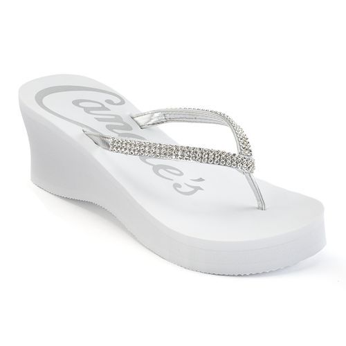 Candie's® Women's Rhinestone Thong Wedge Flip-Flops
