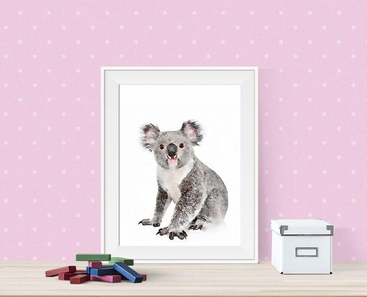 Koala printable artwork. Girl Koala poster. Printable watercolor animals. Nursery artwork. Watercolor nursery artwork. Instant download de Byoliart en Etsy