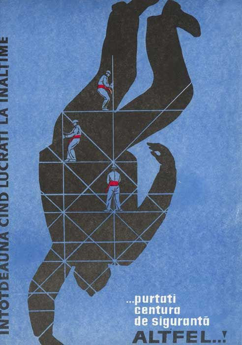 1966 Romanian labour safety poster