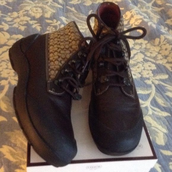 Signature Coach ankle boots These boots are in perfect condition no scratches or marks worn only a few times.  Please don't ask for discount, boots are priced to sell box included Coach Shoes Ankle Boots & Booties