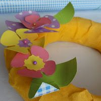 Spring wreath with colourful flowers