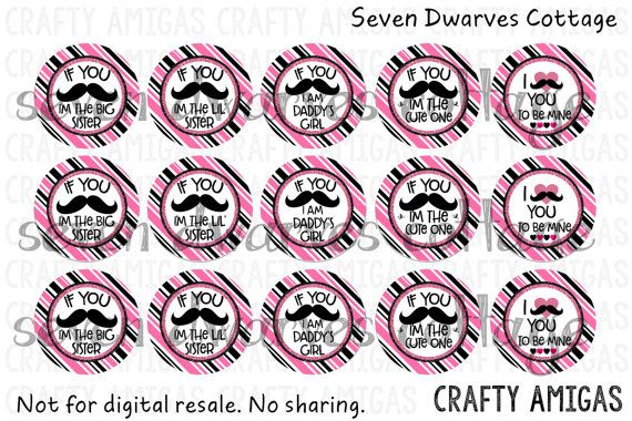 Cute Mustache Sayings one inch circles bottlecap images