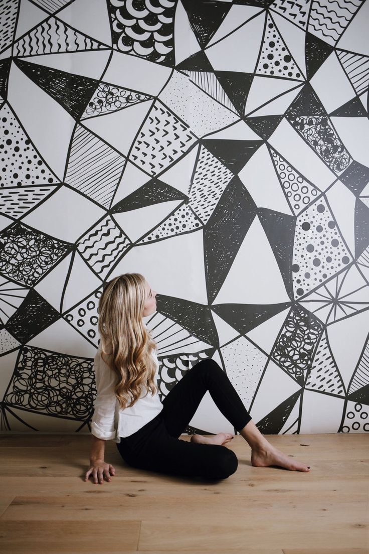 Black and White Nursery With Geometric Wallpaper