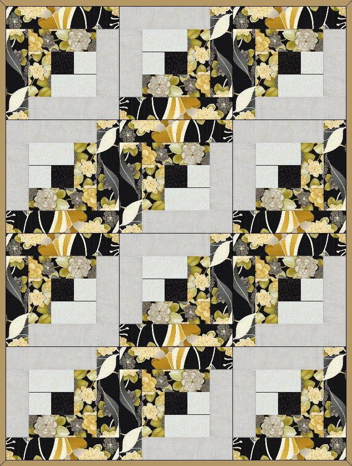 Modern Noir Flowers Pre-Cut Quilt Blocks Kit from Quilt Kit Shop